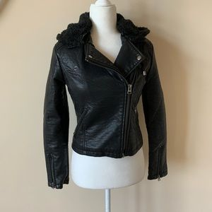 Topshop faux leather moto jacket with hood #1456